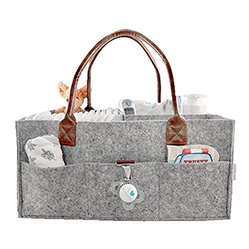 Baby Diaper Caddy Organizer Comfy Carry Nursery Bin – Unisex Portable Newborn Essentials Changing Table Cotton Canvas Nappy Holder Storage Bag Basket Travel Tote Boy Girl Baby Shower Gift