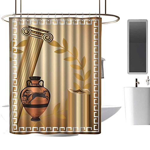 coolteey Shower Curtains for Bathroom with Rosebuds Toga Party,Antique Greek Columns Vase Olive Branch Hellenic Heritage Icons,Light Brown Cinnamon White,W48 x L84,Shower Curtain for Kids