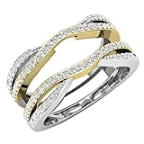 DreamJewels 0.50 Ctw 14K White & Yellow Gold Two-Tone Plated Round Cut Created White Diamond Ladies Anniversary Wedding Band Enhancer Guard Double Chevron Ring (6.5) Alloy