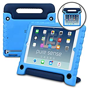 iPad Kids case, PURE SENSE BUDDY Antimicrobial Kids Play Case with Large Handle and Shoulder Strap + Free Screen Protector & Cleaning Spray