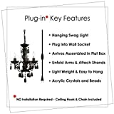 Plug-in 3 Light Black Hanging Swag Chandelier