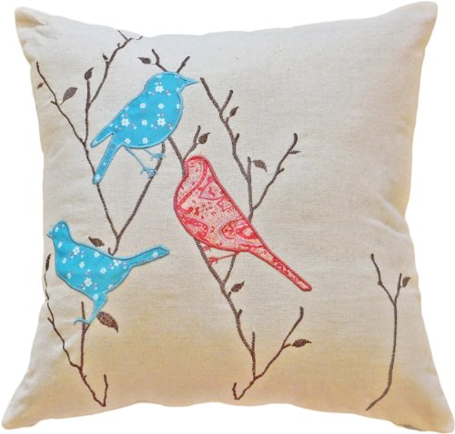 Decorative Birds Applique with Embroidery Leaves Floral Pillow COVER 18