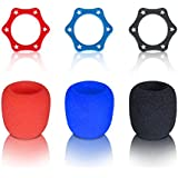 Microphone Cover,Foam Ball-Type Accessories Mic Windscreen,Anti-rolling Mic Protection Silicone Ring for KTV Equipment,Color Black,Blue,Red-3 Sets