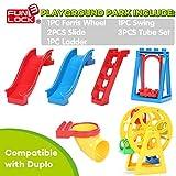 HOKUGA Baby Toys - Funlock Duplo Funny Playground Toys Blocks Set with Ferri Wheels Slide Swing Ladder Kids Creative Educational Building Toys Game