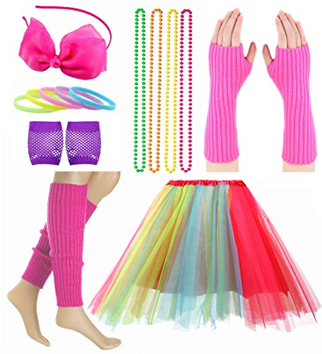 Child Girl 80's Accessories Set Tutu Skirt with Neon Bracelet Necklace Set (Colorful) ()