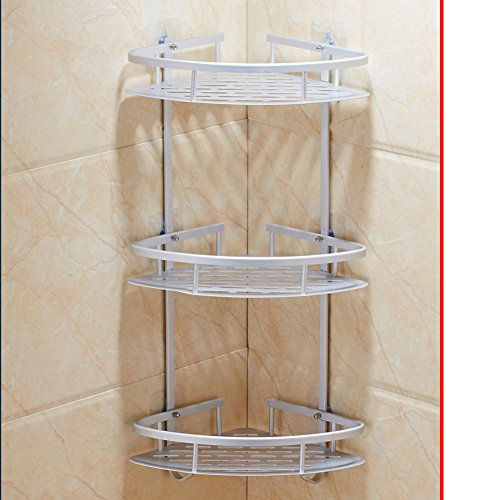 punch-free bathroom rack/Suction-cup nail-free rack/ wall-mounted three-tier bathroom corner rack-B