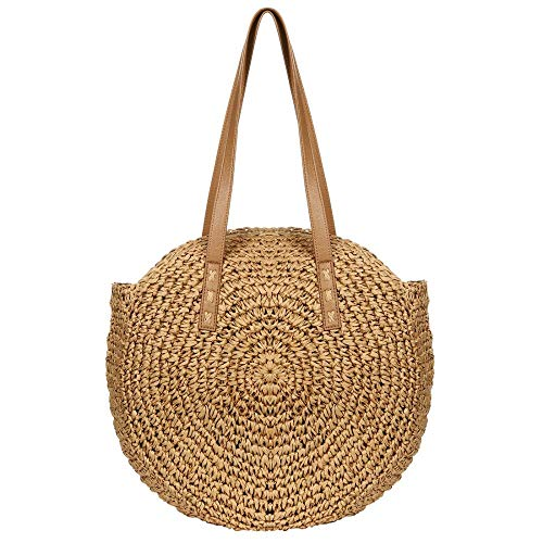 Women's Straw Handbags Large Summer Beach Tote Woven Round Pompom Handle Shoulder Bag (Brown)