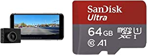 Garmin Dash Cam 46, Wide 140-Degree Field of View in 1080P HD, Very Compact with Automatic Incident Detection and Recording & SanDisk 64GB Ultra microSDXC UHS-I Memory Card with Adapter
