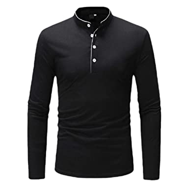 CuteRose Men Classic-Fit Solid Skinny Polo Long-Sleeve Blouse T ...
