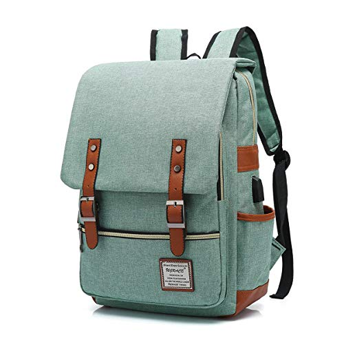 UGRACE Vintage Laptop Backpack with USB Charging Port, Elegant Water Resistant Travelling Backpack Casual Daypacks School Shoulder Bag for Men Women, Fits up to 15.6Inch MacBook in Green