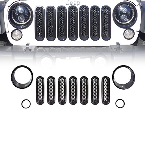 Xprite Black Front Grill Mesh Grille Insert Kit & Bezel Cover For Headlight and Turn Signal Light 2007 - 2017 Jeep Wrangler JK & JK Unlimited (11 Piece Set)