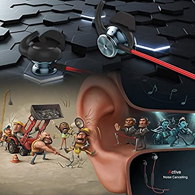 Active Noise Cancelling Headphones, Janazan Wireless Earbuds In Ear Bluetooth Stereo Magnetic Charging Sports Headsets with Microphone and Remote, 106dB Reduction with 10m Bluetooth Operating range.