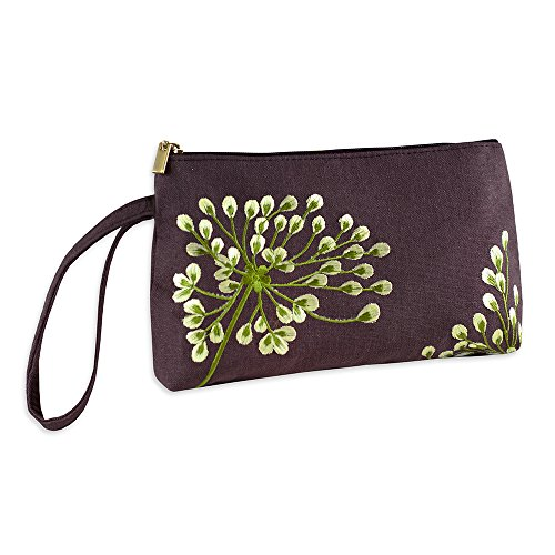 Wristlet Purse - Embroidered Dandelion (Plum - Bronze)