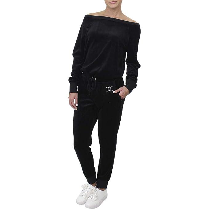 20456c179cd6 Juicy Couture Black Label Womens Velour Long Sleeves Jumpsuit Black ...