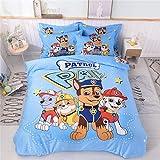 Cenarious Duvet Cover Set (No Comforter) - 1 Duvet Cover + 1 Flat Sheet + 2 Pillowcases - Hypoallergenic, Breathable - 100% Cotton - 4 Piece - Full(78'x90') - Cartoon Paw Patrol Dogs for Boys - Blue