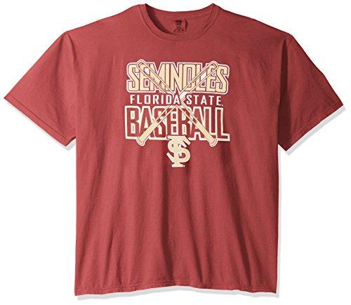 NCAA Florida State Seminoles Baseball Bats Short Sleeve Comfort Color T-Shirt, XX-Large,Brick