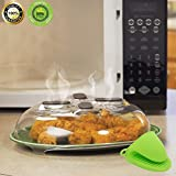 microwave ceramic plate - Microwave Plate Cover Hmby Hover Magnetic Anti-Sputtering Cover Microwave Oven Parts Food Splatter Microwave Guard Transparent Steam Vents Plastic 11.8 x 3.35 inch with 1 PIECE Silicone Oven Mitt