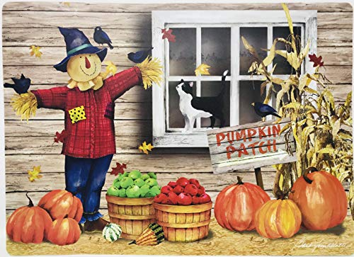 Set of 4 | Welcoming Fall | Easy Clean Vinyl Place Mats (Pumpkin Farm and Scare Crow Scene) -