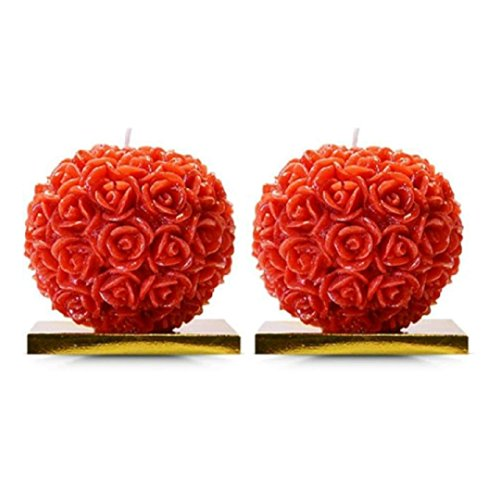 BDS CREATIONS MDRB054 Scented SMOKELESS Paraffin Wax RED Small Rose Ball Pack of 2PCS