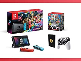 2018 NEW : Nintendo Switch w/ Mario Kart 8 Deluxe Console + Super Smash Bros. Ultimate Special Edition - Nintendo Switch Bundle ( 2 - Items )