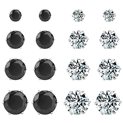 Areke Women's Stainless Steel Round Cubic Zirconia Rhinestone Stud Earring Hypoallergenic (8 Pairs) Color White - Mall Shopping In Ct