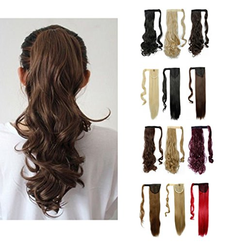 [Wrap Around Synthetic Ponytail One Piece Heat Resistant Magic Paste Pony Tail Long Wavy Curly Soft Silky for Women Lady Girls 24'' / 24 inch (dark] (Glamour Costumes 2016)