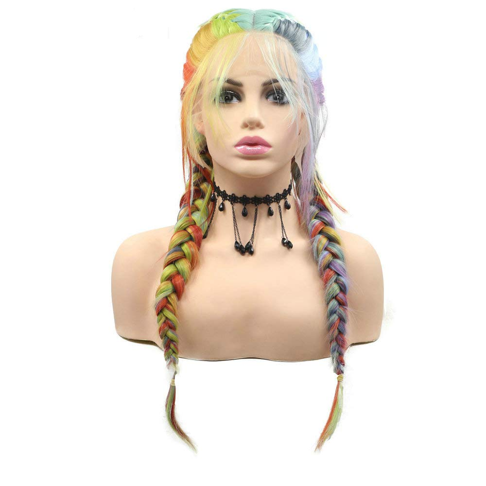 RainaHair Handmade Braided Rainbow Wigs Heat Resistant Synthetic Lace Front Wig Drag Queen Makeup Cosplay 2x Twist Braids Wigs For Women Flawless Hairline Holiday Festival 26inch