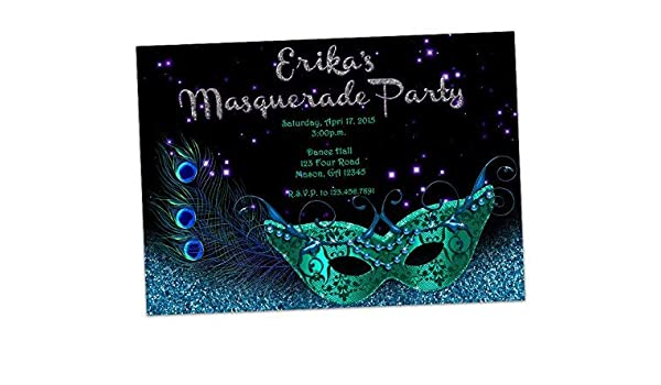 Amazon Turquoise Silver Birthday Invitations Masquerade Mask