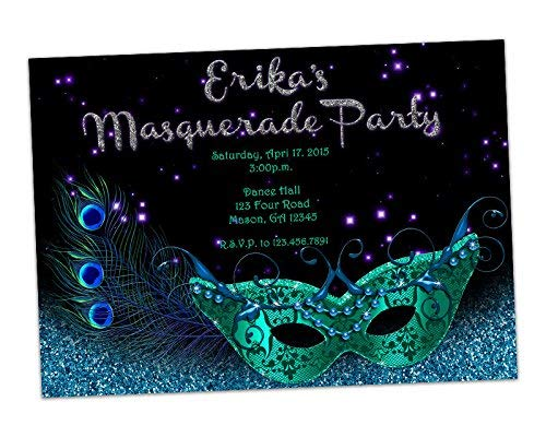 Amazon Turquoise Silver Birthday Invitations Masquerade Mask