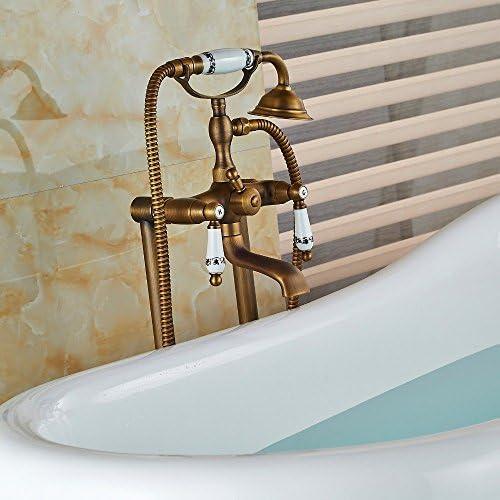 Gulakey 蛇口セラミックスタイルアンティークブラス浴室浴槽の蛇口の床は、タブ蛇口W/ハンドシャワースプレーミキサーのタップ、クリアをマウント