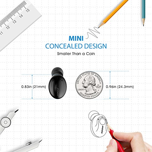 Mpow Single Wireless Earbud, V4.1 Mini Bluetooth Earbud, 6-Hr Playing Time Car Bluetooth Headset Invisible Headphone with Mic, Cell Phone Bluetooth Earpiece for iPhone Samsung Android (Two Charger) - Image 5