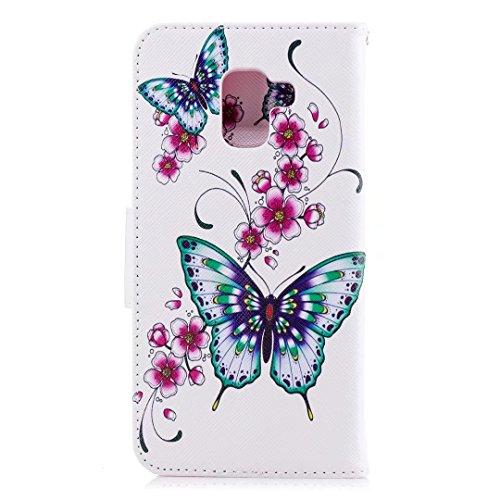 Samsung Galaxy A8Plus (2018) móvil, cowx PU Funda de piel para Samsung Galaxy A8Plus (2018) funda melocotón de mariposa