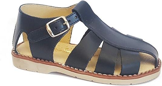 Sandalia de Verano para niño en Piel Color Azul, Hecho en España (Tallas del 22 al 33) - Talla 27: Amazon.es: Zapatos y complementos