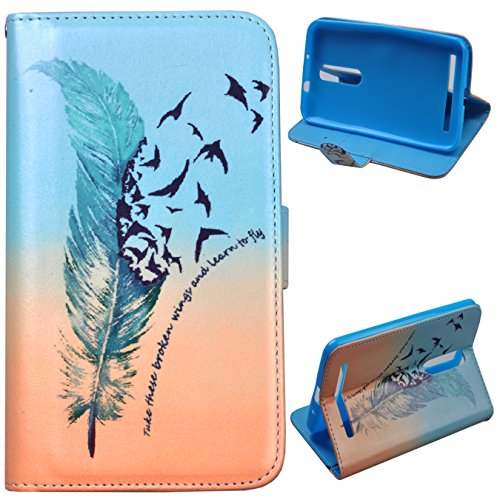 Einzige Asus ZenFone 2 ZE551ML (5.5 inch) (Green Feather 02) Slim Fit Leather Case Cover with Stand & Card Slots with Free Universal Screen-stylus
