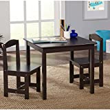 Hayden Kids 3 Piece Table And Chair Set, Table dimensions: 23.6''W x 23.6''D x 20''H, Chair dimensions: 11''W x 11.6''D x 22.25''H, Espresso Finish