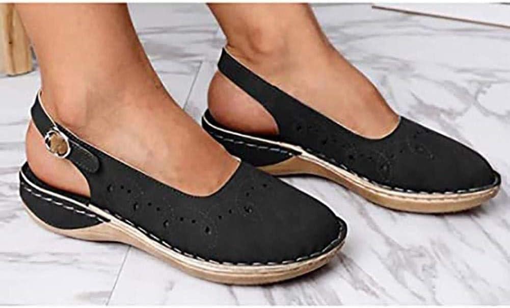 Dames Sandalen Platte sleehak Sandalen Zomerschoenen PU-leer Bohemen Sandalen Vrije tijd Vakantie Antislip zomerschoenen Black