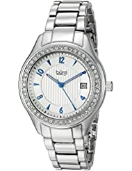 Burgi Womens BUR135SS Swarovski Crystal Accented Embossed Dial Silver Bracelet Watch