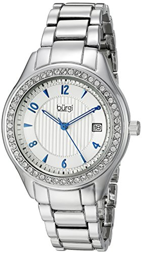 Burgi Women's BUR135SS Swarovski Crystal Accented Embossed Dial Silver Bracelet Watch
