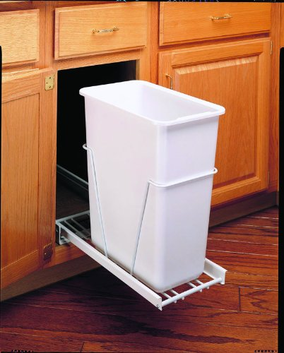 - Rev-A-Shelf RV-9PB 30 Qt Pull-Out Waste Container, White