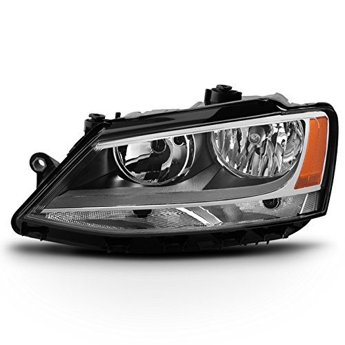 Door Headlight Left - For 2011-2018 VW Jetta 4-Door Sedan Models Driver Left Side Halogen Headlight Replacement