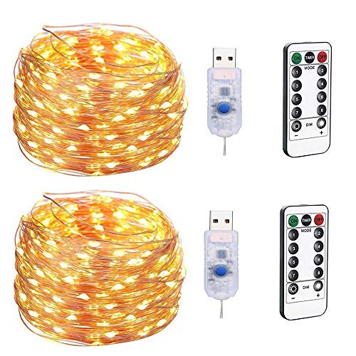 BXROIU 2 x 100LEDs Fairy String Lights 33ft Copper Wire with USB Plug Operated 8 Program Dimmable Timer Remote Control Indoor Outdoor Decor(wramwhite)