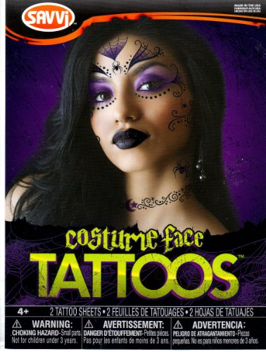 Goth Witch Costume Face Temporary Tattoos 2 Sheets Made in USA ()