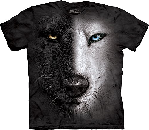 Black And White Wolf Face T-Shirt-L