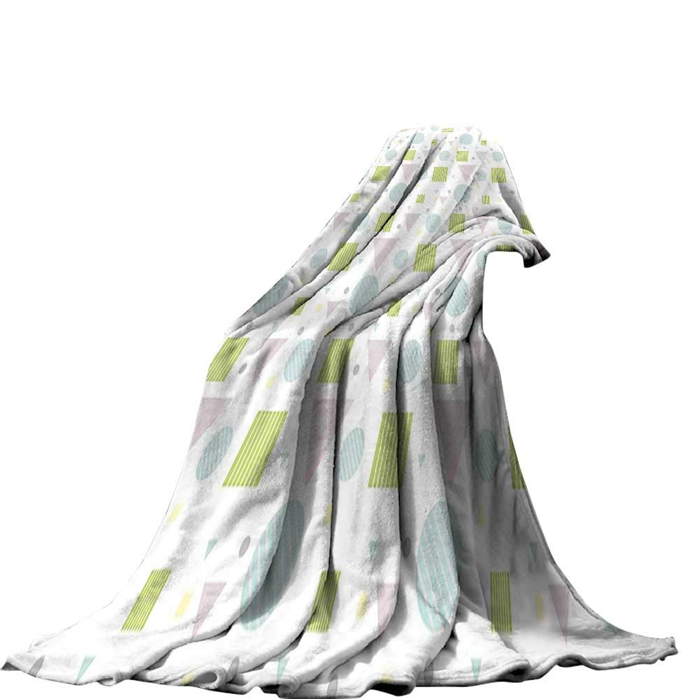 QINYAN-Home デジタルプリントブランケット (50インチ x 30インチ デジタルプリントブランケット テラス装飾 モダン建築家 ベランダ 山の海の景色 ホワイトライトブルー ダークブルー 80