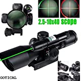 GOTICAL Tactical Compact Laser Rifle Scope 2.5-10X40 Riflescope Illuminated Tactical Riflescope with Green Laser Hunting Scope