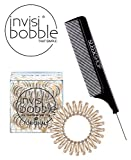 Invisibobble Traceless Hair Ring (with Sleek Steel Pin Tail Comb) (ORIGINAL, BRONZE ME PRETTY)