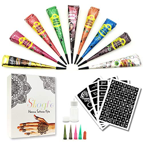 Temporary Tattoo Kit-9Color Temporary Tattoo Paste Cone with 107 Pcs Template Set,1 x Applicator Bottle and 5 x Plastic Nozzle. ()