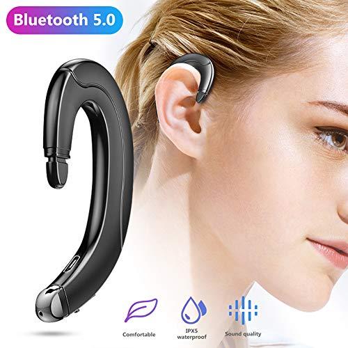 yunbox299 1PC Bone Conduction Headset, Bluetooth Earphone with Ear Hook, Sports Waterproof Handsfree Wireless Bluetooth 5.0 Headphone Black (Bluetooth Ear Gauges)