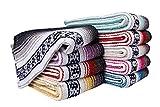 Threads West Premium Mexican Falsa Beach Blanket, Serape Stripe Yoga Blanket (Black and Gray)
