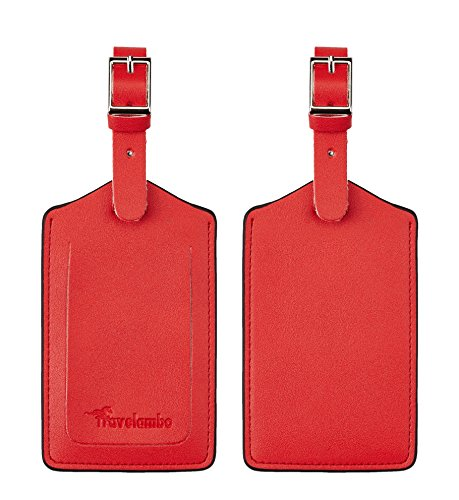 Travelambo Leather Luggage Bag Tags (Red 2163 Classic Red)